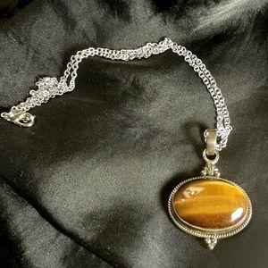 Tiger's Eye Vintage Silver Pendant- Hallmarked